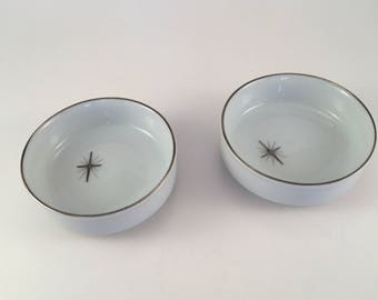 Fukagawa Arita Set of Two Coasters in Cross Star Pattern No. 713 Mid-Century Starburst 50's