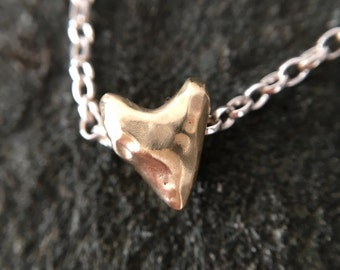 Battered But Brave, 14ct solid gold textured heart charm necklace in a satin matte polish