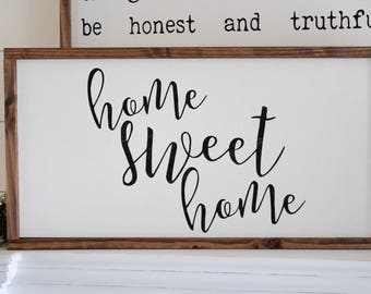 Home Sweet Home | Framed Wood Sign | Farmhouse Decor