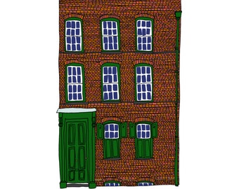 Princelet Street, a Landmark Trust building - A6 Greeting Card, A4 Digital Print