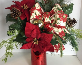 Poinsettia Christmas Floral Arrangement
