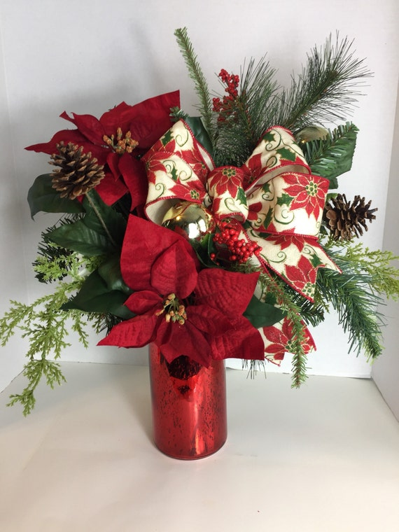 Poinsettia christmas floral arrangement for Poinsettia arrangements