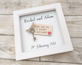 "Super cute original ""key to a happy marriage"" box frame - wedding gift, anniversary"