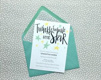 Twinkle Twinkle Little Star Baby Shower Invitation, Gender Neutral Invite, Twinkle Twinkle Shower Invite, Baby Shower Invitation, Twinkle