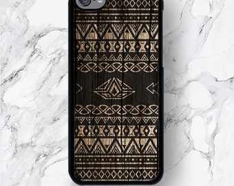 iPod Touch 6th Gen Aztec Wood Print Cases, iPod Touch 6G Geometric Tribal Wooden Pattern iPod 6 Covers, iTouch 5th Generation,