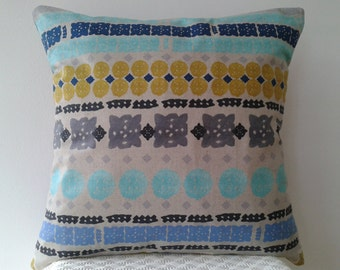 Global Folk/ Mediterranean print cushion, citrus, blue and grey tones in soft linen and cotton.