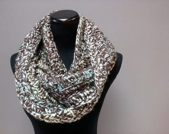 Earth and Sky Crochet Infinity Scarf - Crocheted Circle Scarf