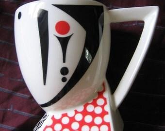 Sale!!Vintage 80's, Fujimori Collection Alpha-3 Kato Kogei, Retro Abstract Art Coffee/Tea Pottery Mug, Elegant Footed Mug/Cup, Made in Japan