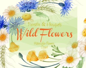 Wild Flowers Watercolor Wreaths and Bouquets Hand painted clipart - Cornflowers, Chamomiles, Spicas,  Scrapbooking, Wedding invitations