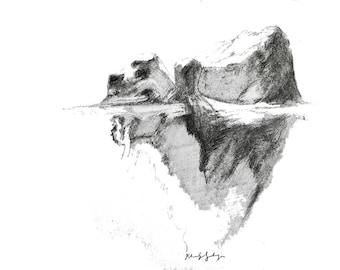 A3 Original Art Poster, Iceberg Landscape Wall Hanging, Nature Decor, Drawing Print