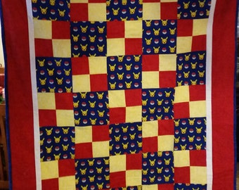 Red, Blue and Yellow Pokemon Quilt