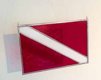 Handmade Scuba Dive Flag  (Diver Below Flag) Stained Glass