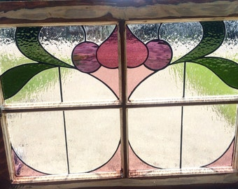Handmade Victorian Stained Glass Wood Window