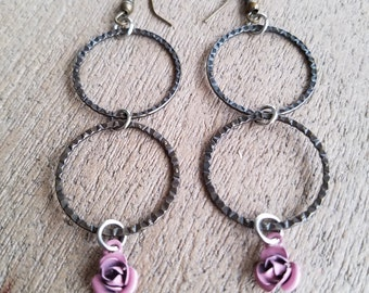 Lilac Rosebud Earrings