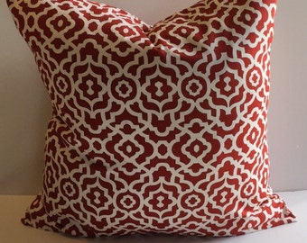 Decorative throw pillow cover , red and white throw pillow cover, home decor throw pillow cover, home accent throw pillow cover .