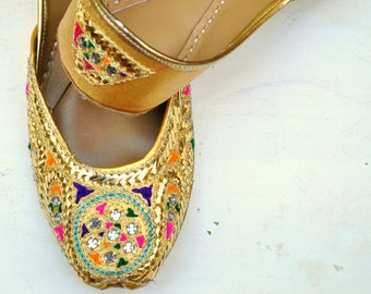 Hand Embroidered Boho Leather Flats- Traditional Khussa Flats