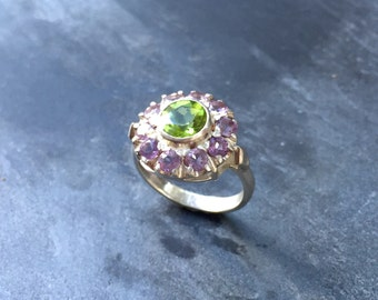 Amethyst Ring, Peridot Ring, Natural Amethyst, February Birthstone, Vintage Ring, Victorian Ring, Natural Peridot, August Birthstone, Silver