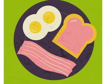 Bacon and Eggs with Jelly; Printable Art; 8X8 instant download