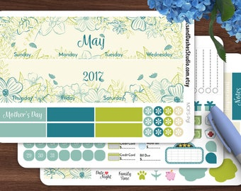 Floral Sketch Monthly kit, monthly overview kit, month view planner stickers, MOFS