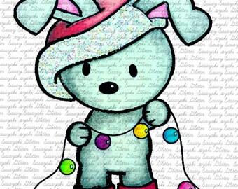 Christmas Bunny Decorating Sasayaki Glitter digital Stamp by Naz  - Line art only - Black and white