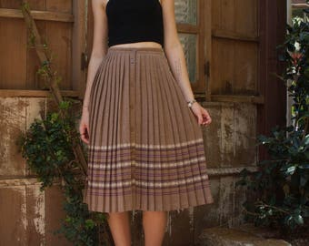 60s wool button down pleated skirt
