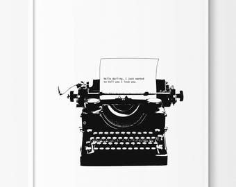 Vintage Typewriter Print, Modern poster, Modern Minimalist Black and white print, Modern Print, Black and White Decor, Modern Minimalist
