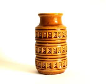 Scheurich West German Tundra Honey Caramel Brown Vase 268 15 - Funky Retro 70s Pottery Vase Fat Lava