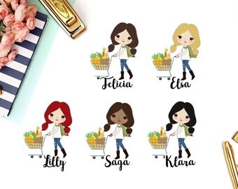 Grocery Shop, Food | Girl (matte planner stickers, perfect for planners)