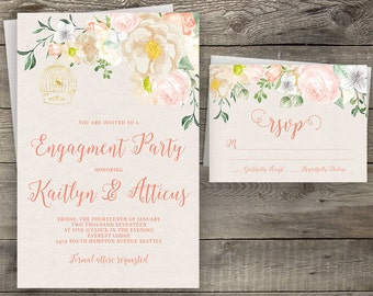 Floral Rustic Wood Bohemian Engagement Invite, Engagement Party Invitation, Boho Chic Invite, Printable Invitation, Handpainted Invite