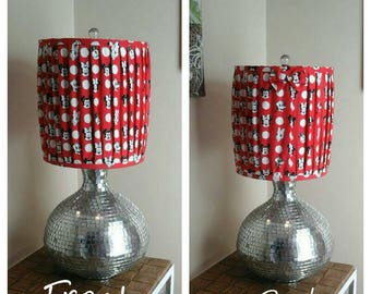 Red pleated Mickey Mouse and friends drum lamp shade with polka dots and back bow