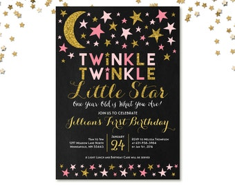 Twinkle Twinkle Little Star First Birthday Invitation, Pink and Gold, Twinkle Twinkle Birthday Invitation, Printable, Girl Birthday Party
