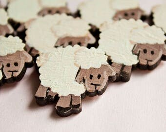 Hand painted wooden brooch - sheep