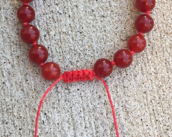 Red Ruby Beaded Bracelet - Ready to Ship & Free Shipping
