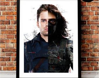 Winter Soldier Bucky Barnes Art Print, Marvel Superhero Inspired, Avengers Art, Civil War, Steve Rogers, Stucky, Ready to Comply