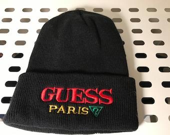 Vintage Guess Paris Skullcap Beanie