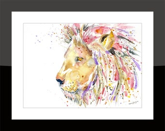 SkinnyDaz -A3 Lion Print of my Original Watercolour Painting - Open Edition