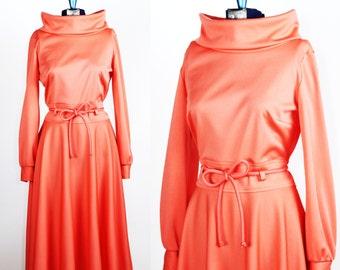 Vintage 1970s Coral Crush Dress by Bleeker Street Jonathan Logan / small