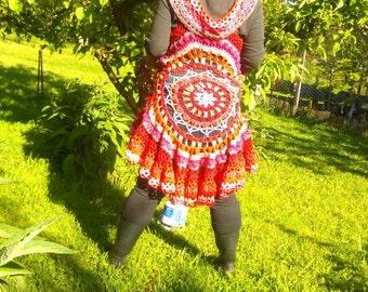 Crocheted mandala boho hippy festival circle vest 100% upcycled cotton