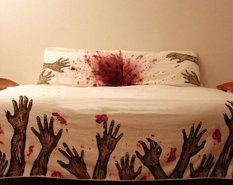 "Custom hand-painted bedspread ""The Walking Dead"" + cushions!"