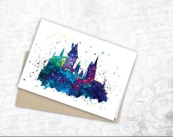 Hogwarts Castle gift card harry potter art Watercolor Greeting Cards JK Rowling Hogwarts Print greeting card