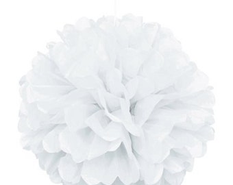 White Tissue Paper Pom Pom's, Cake Table Backdrop,Hanging Decoration,