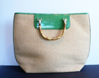Talbots Woven Hand Bag with Bamboo Handles and Green Paisley Interior