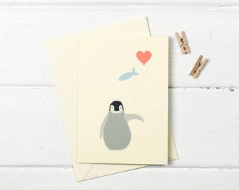 Baby penguin birthday greetings card
