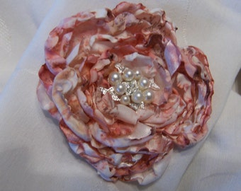 "4"" Pink Fabric Flower Hair Clip, Satin Pink Flower Hair Clip, Pink Flower Hair Clip"