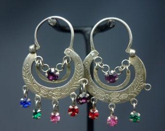 Ethnic Mayan Guatemalan Silver Crescent Moon Hoop Earrings