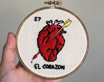 El Corazon loteria embroidery hoop wall art