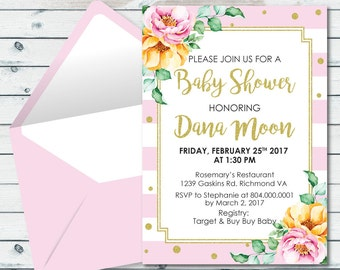 Pink And Gold Floral Baby Shower Invite, Pink And Gold Glitter Bridal Shower Invite, Baby Shower Invite, Floral Bridal Invitation