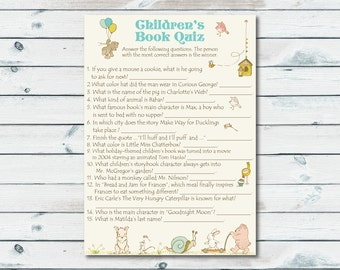Children's Book Quiz, Printable Storybook Baby Shower Game, Build A Library, Book Theme Game, Book Quiz, Baby Book Game, Storybook Printable