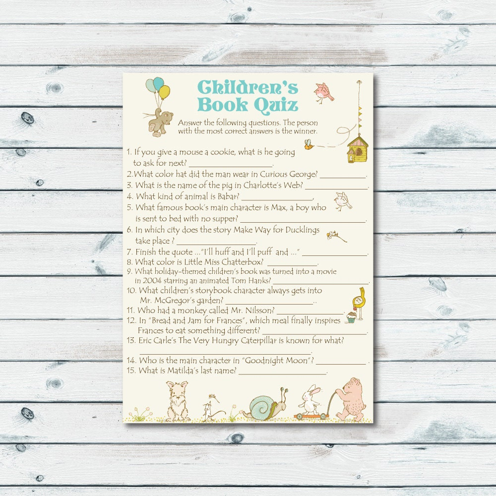 Childrens Book Quiz Printable Storybook Baby Shower Game