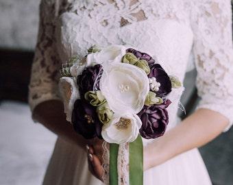 Brooch Bouquet, Toss Bouquet, Bridal Bouquet, Wedding Bouquet, Rustic Bouquet, Fabric Bouquet, Unique Bouquet, ivory, eggplant, olive